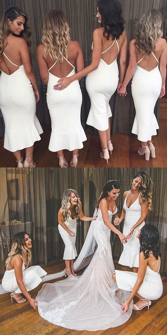 Mermaid Spaghetti Straps Tea-Length White Bridesmaid Dress