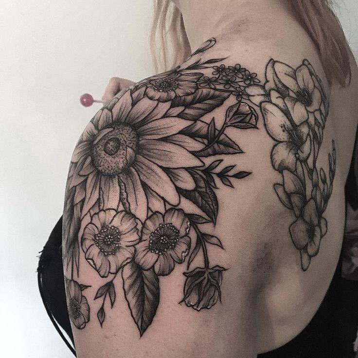 Image result for sunflower and floral shoulder cap tattoo ...