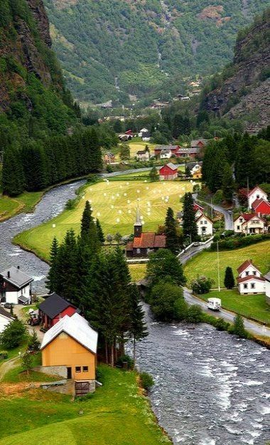 Flam is a village in Sogn og Fjordane county, at the innermost point of an arm of the Sognefjord. Flåm is among the busiest cruise ports in Norway. This article also deals with the neighboring village of Aurland, located approx. 10 km (6 mi) away.