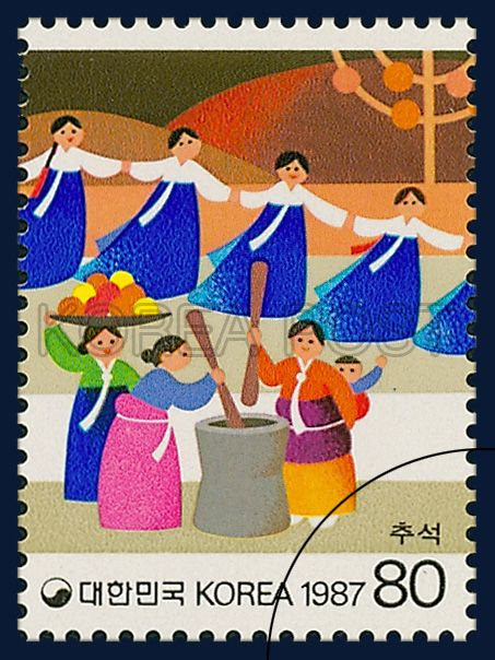 POSTAGE STAMPS FOR FOLKWAYS,  SERIES(Ⅳ), chuseok, traditional culture, blue…