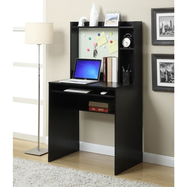 Convenience Concepts Designs2Go Black Wood Student Desk With Magnetic Bulletin Board