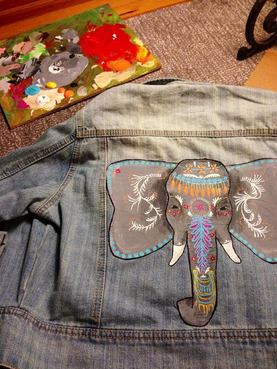 Hand Painted Indian Elephant Jean Jacket by TheAlternativeCanvas, $95.00