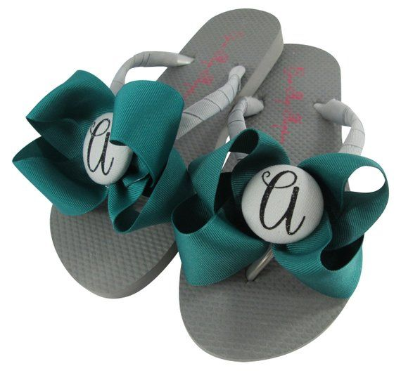 7052c24c63d8b6 Jade gray and Black Glitter Bow Wedding Personalized Flip Flops with Bows  for Ladies   Girls