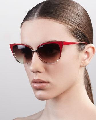 Valerie Metal-Frame Cat-Eye Sunglasses by Barton Perreira at Bergdorf Goodman.