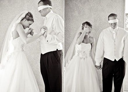 This is a cute idea. It used to be that the groom did not see the bride before the wedding, but now most people take their pictures before the ceremony. I think it would be cute to do this then take the blindfold off and capture the groom's  first reaction to his bride!