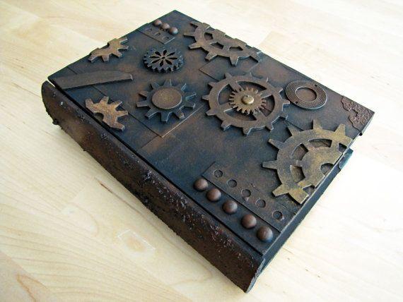 Handmade steampunk wooden book box secret drawer by JournalShop, €53.00
