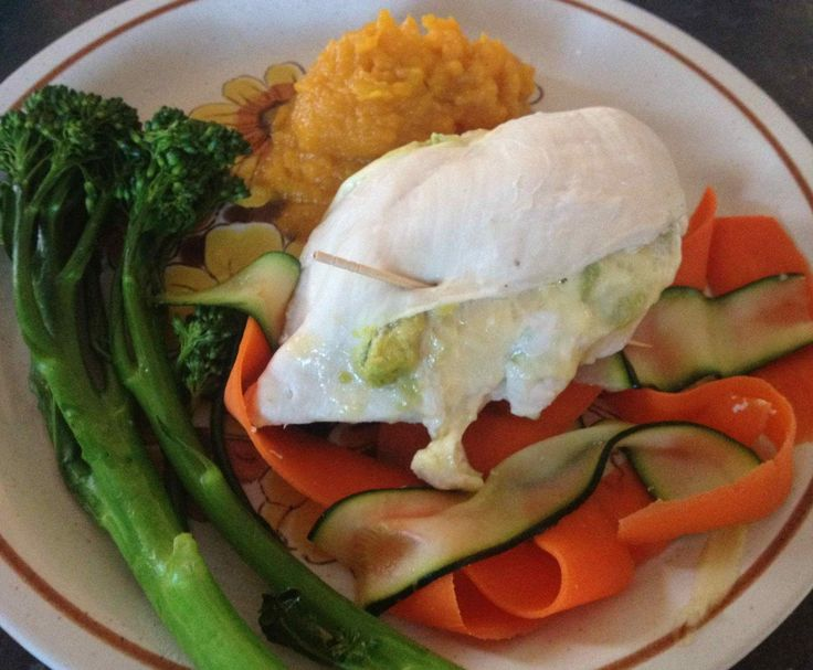 Stuffed Chicken Breast with Sweet Potato Mash and Veggies
