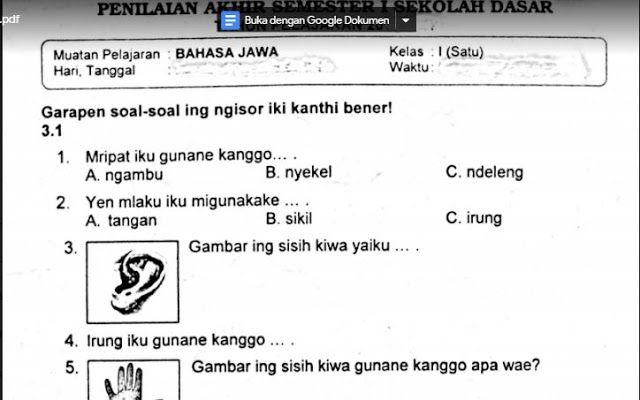 Soal Bahasa Jawa Kelas 3 Sd Semester 1 Ilmusosial Id