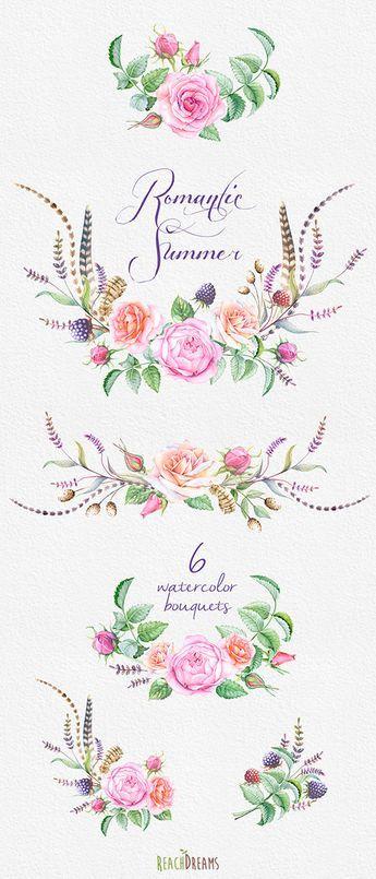 Questo set di 6 mano di alta qualità dipinto acquerello bouquet floreali in stile boho.   Può essere utilizzato per: – stampato carta cancelleria