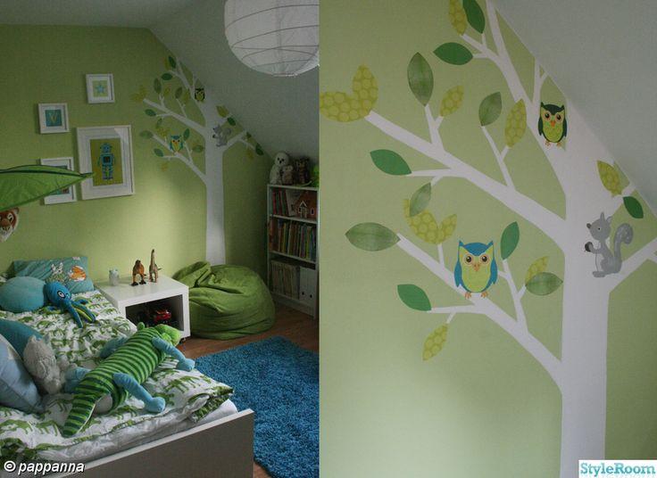 barnrum,väggmålning,turkost,grönt,träd