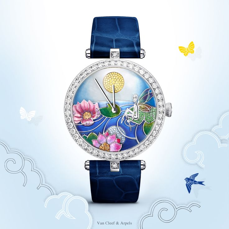 The Lady Arpels™ Jour Nuit Fée Ondine watch combines the technical mastery of Poetic Complications™ creations with an extraordinary palette of craft skills. The 24-hour movement animates an enchanting scene inspired by the High Jewelry clip Fée Ondine, to the rhythm of the movement of the sun and moon.