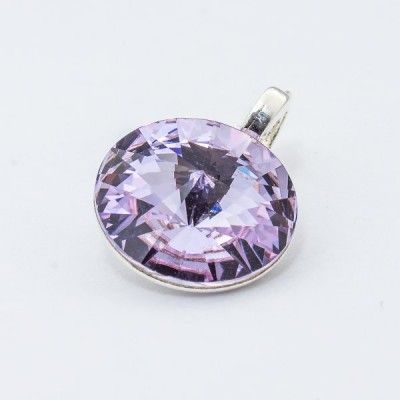 Silver plated Swarovski Rivoli Pendant 12mm Violet  Dimensions: length: 1,7cm stone size: 12mm Weight ~ 1,40g ( 1 piece ) Metal : silver plated brass Stones: Swarovski Elements 1122 12mm Colour: Violet 1 package = 1 piece Price 9.40 PLN(about 2.5 EUR)
