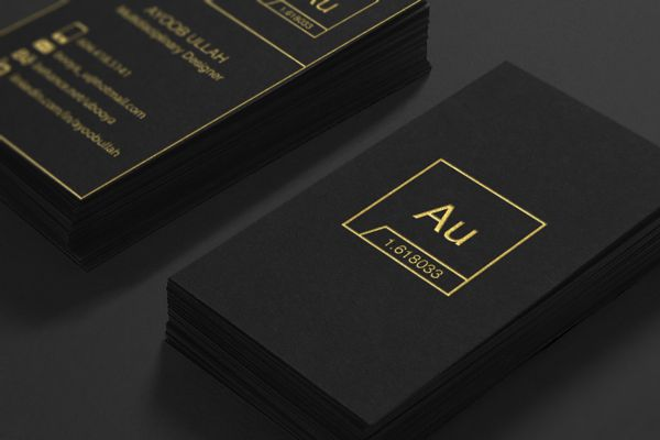 Au business cards - gold foil + black