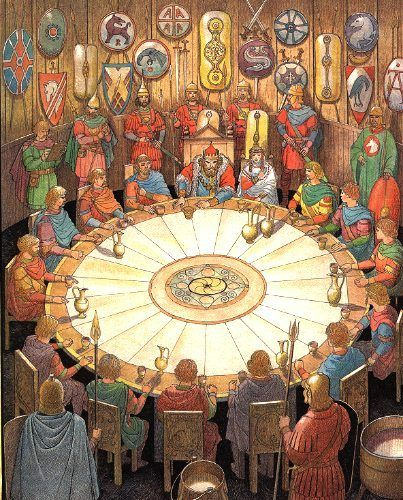 This can be an allusion of the last super.    King Arthur has a round table discussion with his knights,  as Jesus had a meeting with his believers.