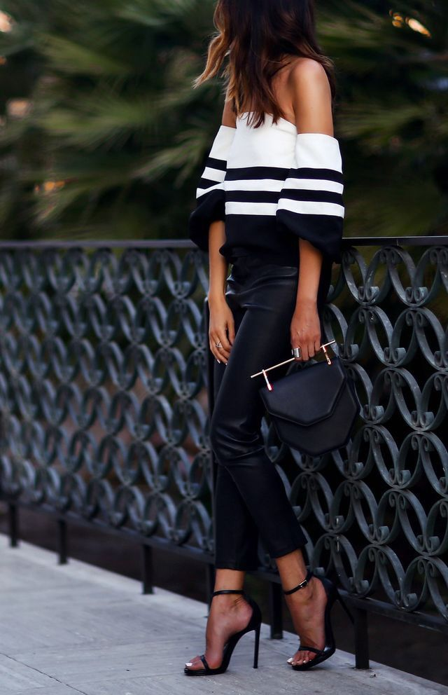 Off the shoulder top + leather pants.