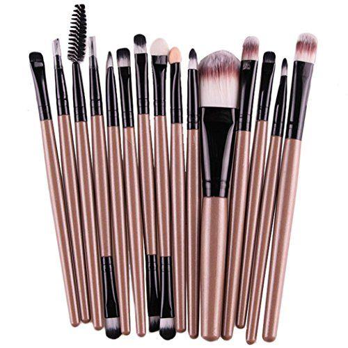 Start 15 pcs/Sets Makeup Brush Set for Eye Shadow Foundation Eyebrow Lip (Gold)
