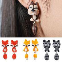 Brincos Argila Do Polímero Animal Bonito Do Gato Dos Desenhos Animados das mulheres Earbobs Ear Studs Jóias