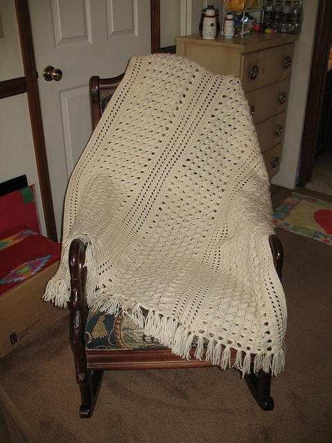 Broomstick Lace Afghan Crocheting Knitting Broomstick