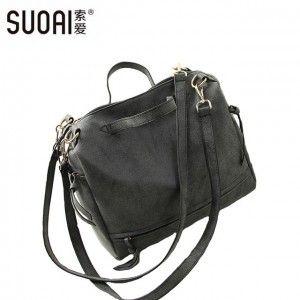 Мотоцикл мешок Suoai новый женщин сумки на ремне большой скраб пу кожаные сумки скучный польский женский европейский и американский стиль ствол