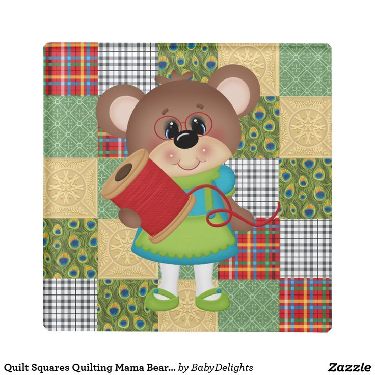 Quilt Squares Quilting Mama Bear Glass Coaster