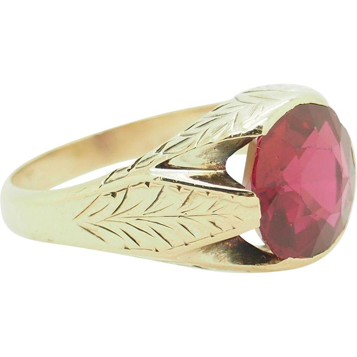 Solid Vintage 14K Yellow Gold 5.00ct Round Red Synthentic Ruby Mens Pinky Ring 8.5 www.rubylane.com #vintagebeginshere