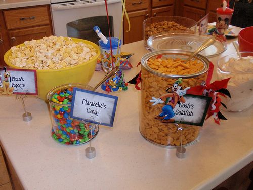 Mickey Mouse theme party I LOVE all the little snacky things for party food and how they all have cute names.