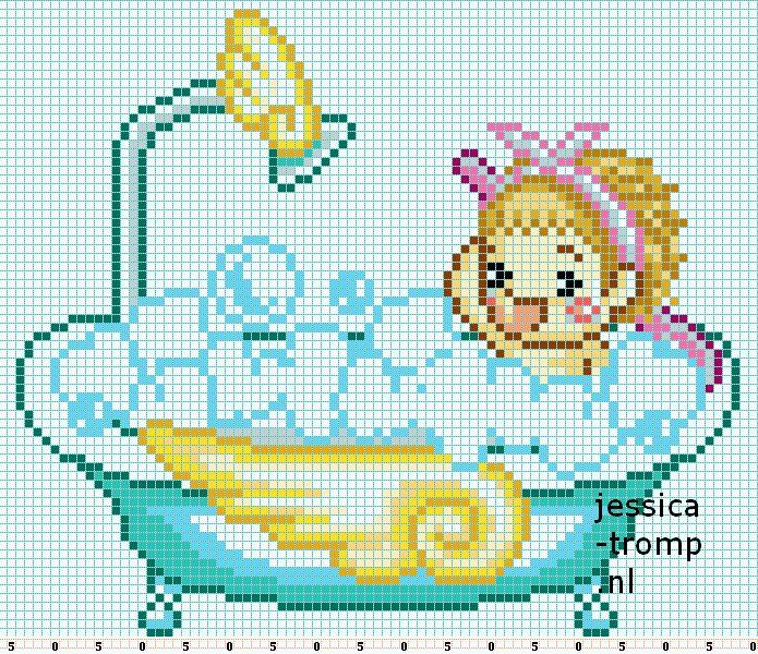 enfant - child - bain - point de croix - cross stitch - Blog : http://broderiemimie44.canalblog.com/