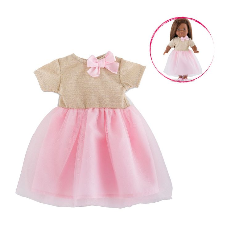Yndig aftenkjole med guldeffekt samt lyserød sløjfe og lyserødt tylskørt. Dukketøjet passer til dukker i serien Ma Corolle fra Corolle, med højde på 36 cm. Fra