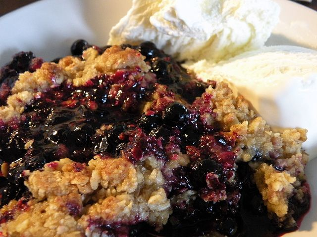 Blueberry crumble pai with vanilla icecream :) by Living in the Arctic, via Flickr