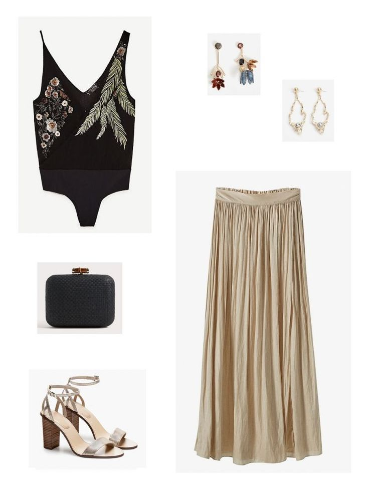 Time for Fashion. Black embellished bodysuit+blush pleated maxi skirt+golden ankle strap heeled sandals+black clutch+earrings. Summer Evening Wedding Guest Outfit 2017