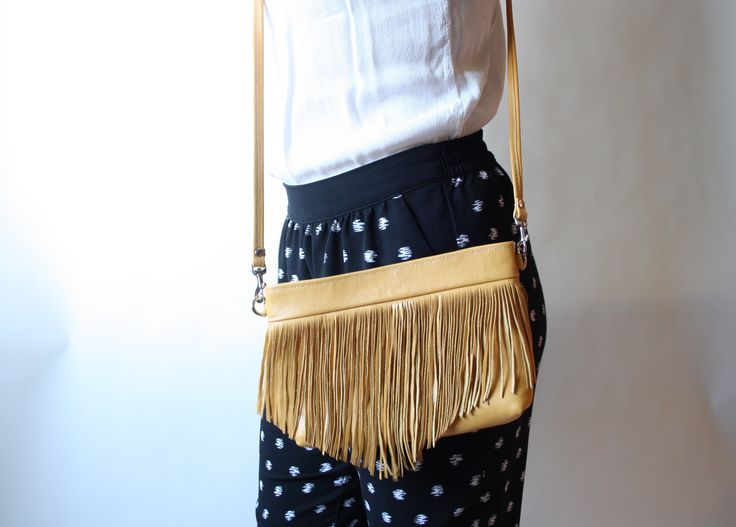 Yellow Leather crossbody handmade leather bag with fun fringe detail by Barbara + Cecile Handbags
