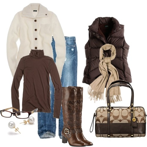Great winter clothes..: Fall Clothing, Coach Pur, Coach Bags, Style, Brown Vest Outfits, Fall Outfits, Fall Fashion, Brown Boots, Casual Looks