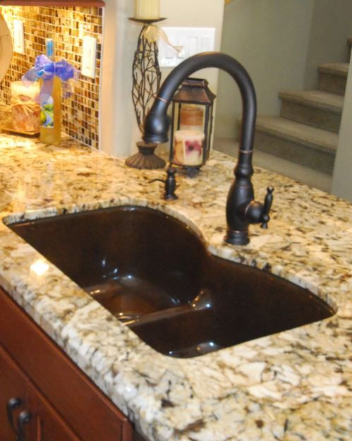 Kohler Vinnata Faucet In Oil Rubbed Bronze With Kohler Langlade Sink In Black Amp Tan In Genisis