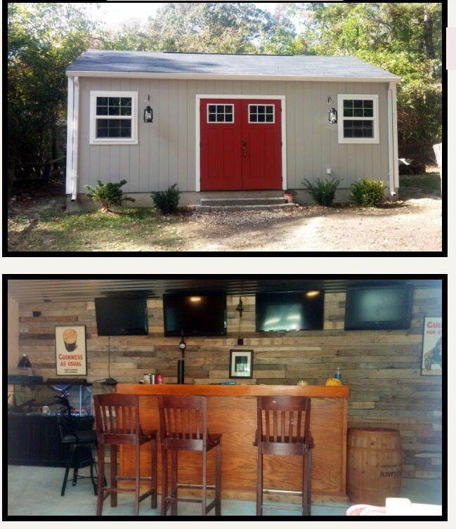 Backyard Man Cave Shed | Backyard shed man cave, Backyard ... on Man Cave Patio Ideas id=93642