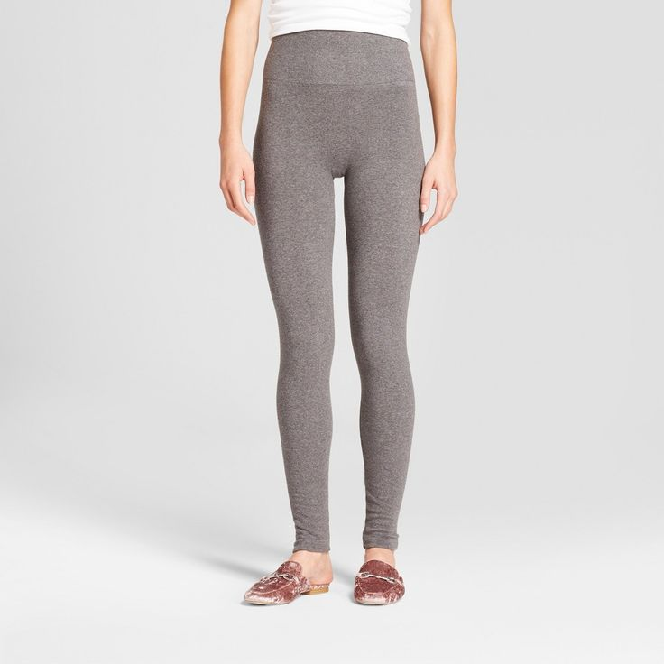 Women's Heathered Cotton Blend Fleece Lined Seamless Legging with 5 Waistband - A New Day Gray Heather