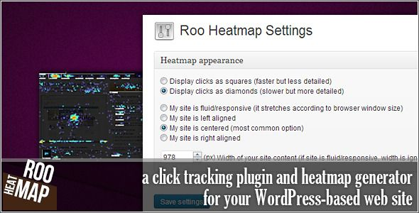 Roo Heatmap - click tracking plugin and heatmap generator for your WordPress-based web site...shows you what's hot and what's not, so you can make changes that increase conversion... See performance results in REAL TIME.