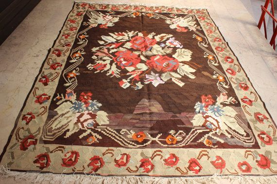 Turkish Karabağ Kilim,Home Decor Kilim, Flowers  Kilim Rug,Vintage Kilim,Colorful Kilim,Ethnic Kilim,108 x 75 inch,275 x 190 cm