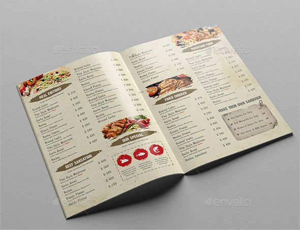 Restaurant Menu Template Bi-fold menu PSD template is perfectly Suitable for Restaurant, Catering, Grill bar etc. Easy to edit font, text, color, fully adobe Photoshop format. Size A4 + Bleed area CMYK 300 dpi Easy Color Adjustment Layer Customizable Text Free Images Easy to Change images via smart objects Product images are not included but links provided in Info file