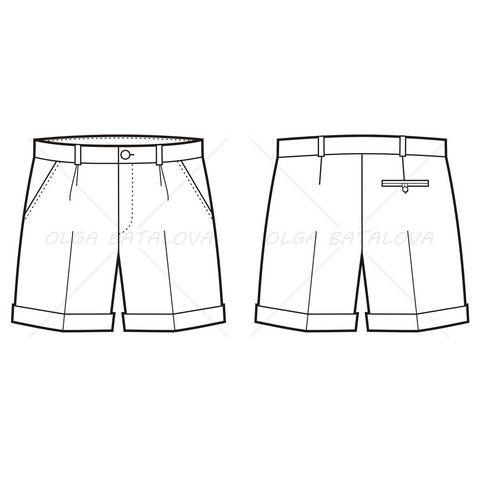 Men's Pleated Shorts Fashion Flat Template