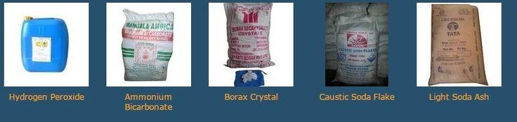Caustic Soda Lye, Hydrochloric acid, Hydrogen peroxide, Iso propyl alcohol(IPA) etc.