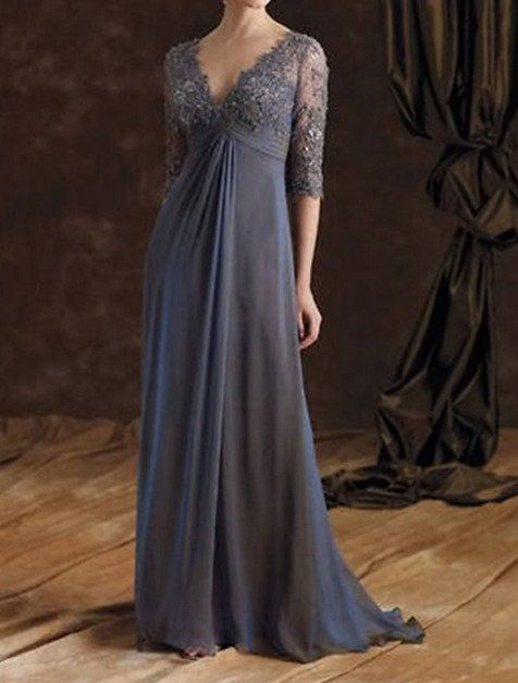 Custom plus size gray formal evening dress chiffon mother for Wedding dresses for tall plus size