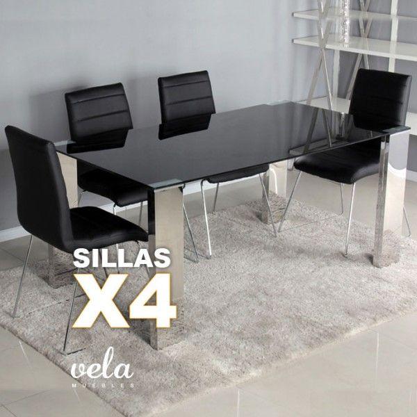 Conjunto de mesa para comedor con cristal negro de estilo moderno y sillas decoradas con costuras horizontales.