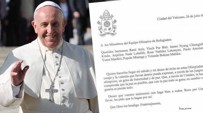 El Papa envía carta a equipo de refugiados en Río 2016: Que su coraje sea un grito de paz 05/08/2016 - 04:10 pm .- El Papa Francisco escribió un mensaje para el equipo de refugiados que participará en las Olimpiadas Río 2016 que se inician este viernes 5 y concluirán el próximo domingo 21 de agosto.