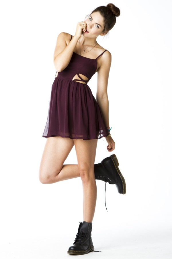 Brandy Melville USA. Minimal, But with Character. Combat Boots + Cutout Skater Dress. Wine and Tulle