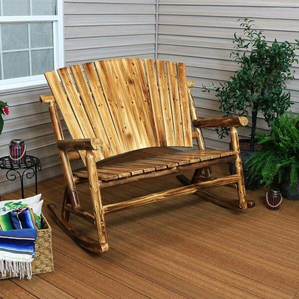 Eaddy Rocking Bench Rocking Bench Log Cabin Decor Outdoor Rocking Chairs
