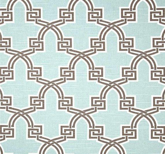 Modern Aqua Brown Geometric Fabric By The Yard Premium Wide Cotton Duck Drapery Fabric Pillows Aqua Home Decor Fabric Craft Fabric
