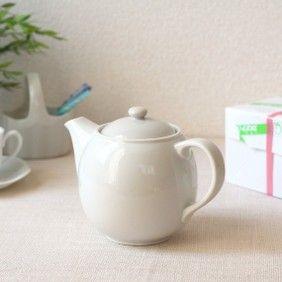 コロンとした2人用ティーポット丸みのあるかわいいフォルム♪陶器紅茶ティーバックポットカフェ食器