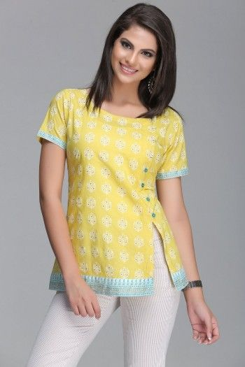 Vibrant Yellow Short Cotton Kurti With Blue Border & Side Slit With Buttons