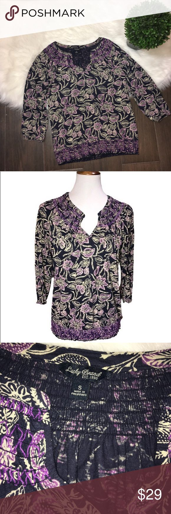 Lucky brand floral boho peasant blouse Lucky Brand boho style peasant blouse. Navy blue and purple floral print print. Smocked neck and smocked elastic waistband. Sleeveless are 3/4 length Stretch jersey fabric. Great condition 60% cotton 40% modal Lucky Brand Tops Blouses