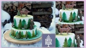 Jäger Torte mit Hirsch, Hase und Hund im Wald Hunter cake with deer, dog, and rabbit in the forest